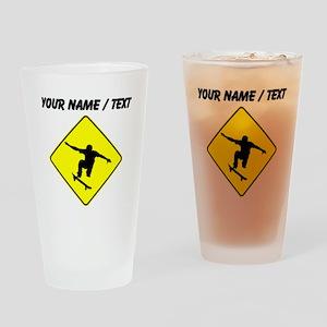 Custom Skateboarder Crossing Drinking Glass