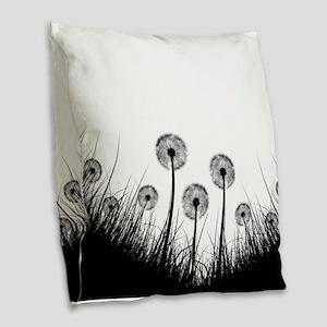 Dandelion Silhouette Burlap Throw Pillow