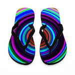 Neon Retro Spiral Circle Pattern Flip Flops