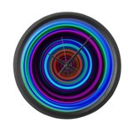 Neon Retro Spiral Circle Pattern Large Wall Clock