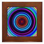 Neon Retro Spiral Circle Pattern Framed Tile