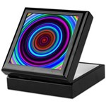 Neon Retro Spiral Circle Pattern Keepsake Box
