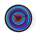 Neon Retro Spiral Circle Pattern Wall Clock