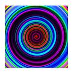Neon Retro Spiral Circle Pattern Tile Coaster