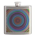 Neon Retro Spiral Circle Pattern Flask