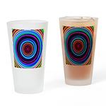 Neon Retro Spiral Circle Pattern Drinking Glass
