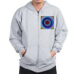Neon Retro Spiral Circle Pattern Zip Hoodie