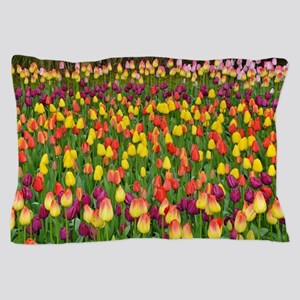 Colorful spring tulips garden Pillow Case