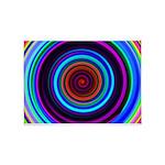 Neon Retro Spiral Circle Pattern 5'x7'Area Rug