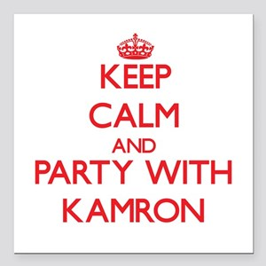 Keep Calm and Party with Kamron Square Car Magnet