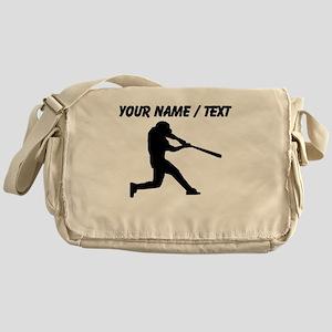 Custom Baseball Batter Silhouette Messenger Bag