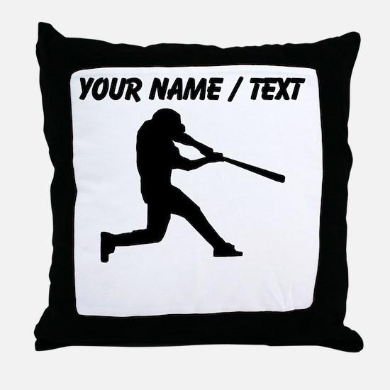 Custom Baseball Batter Silhouette Throw Pillow