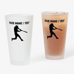 Custom Baseball Batter Silhouette Drinking Glass