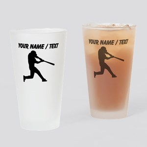 Custom Baseball Batter Silhouette Drinking Glass