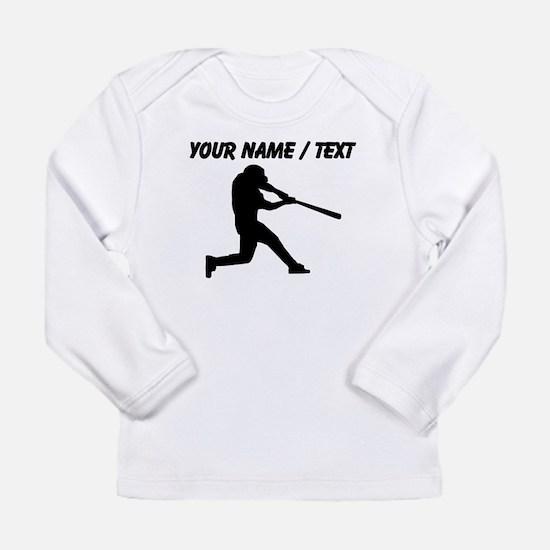 Custom Baseball Batter Silhouette Long Sleeve T-Sh