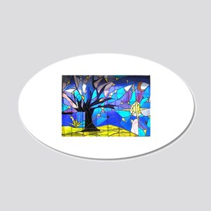 Brasil Stained Glass Panel 20x12 Oval Wall Decal
