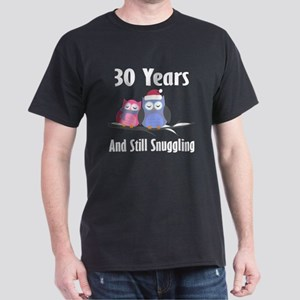 30th Anniversary Snuggling Owls Dark T-Shirt
