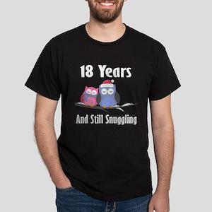18th Anniversary Snuggling Owls Dark T-Shirt