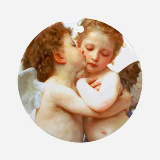 Cupids Kiss by Bouguereau Ornament (Round)