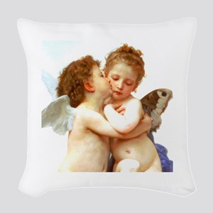 Cupids Kiss by Bouguereau Woven Throw Pillow