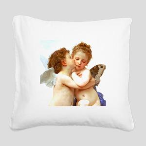 Cupids Kiss by Bouguereau Square Canvas Pillow