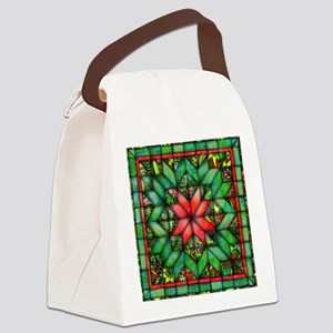 Red and Green Quilt Canvas Lunch Bag