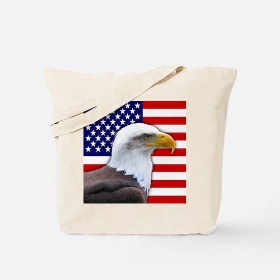 USA flag bald eagle Tote Bag