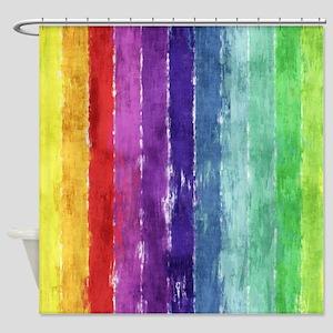 Geometric Stripes Watercolor Shower Curtain