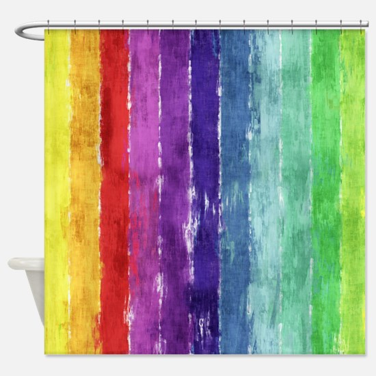 Geometric Stripes Watercolor Shower Curtain