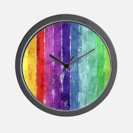 Geometric Stripes Watercolor Wall Clock