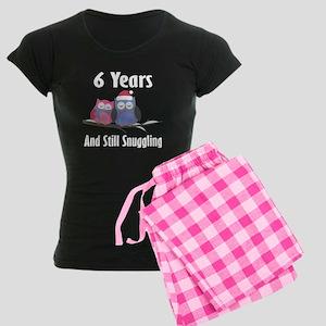 6th Anniversary Snuggling Owls Women's Dark Pajama