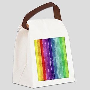 Geometric Stripes Watercolor Canvas Lunch Bag