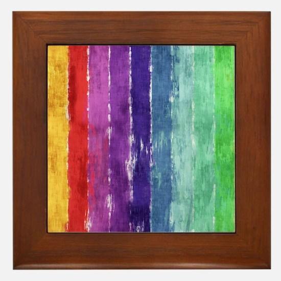 Geometric Stripes Watercolor Framed Tile
