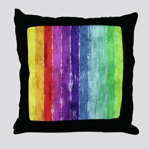 Geometric Stripes Watercolor Throw Pillow