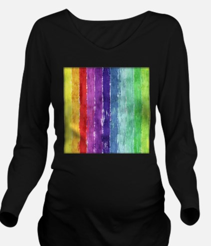 Geometric Stripes Watercolor Long Sleeve Maternity