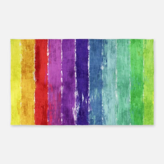 Geometric Stripes Watercolor 3'x5' Area Rug