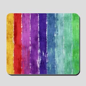 Geometric Stripes Watercolor Mousepad