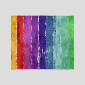 Geometric Stripes Watercolor Throw Blanket