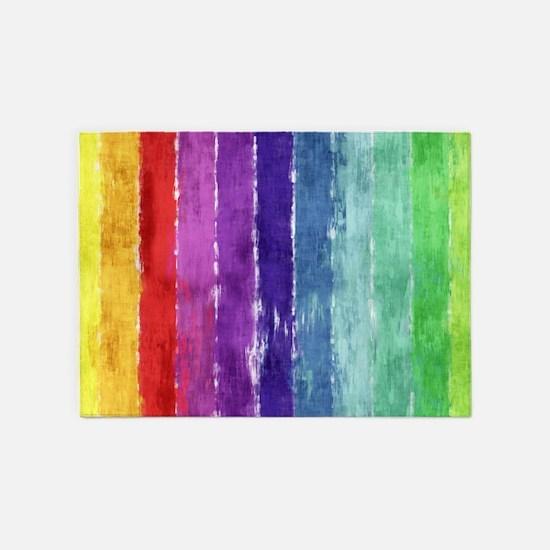 Geometric Stripes Watercolor 5'x7'Area Rug