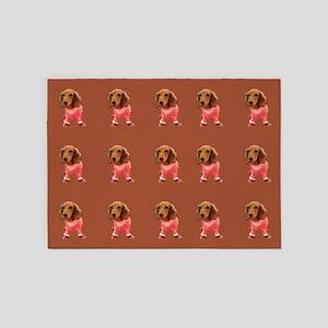 Doxie Dachshund Doggie Dance 23 5'x7'Area Rug