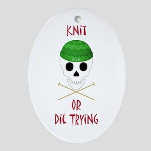 Knit Skull Cap Oval Ornament