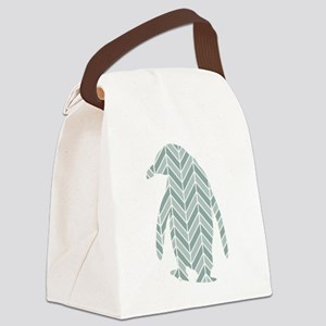 Chevron Penguin Canvas Lunch Bag