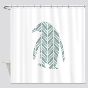 Chevron Penguin Shower Curtain