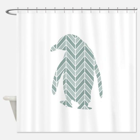 Chevron Penguin Shower Curtain