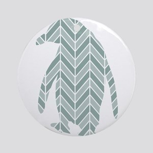 Chevron Penguin Ornament (Round)