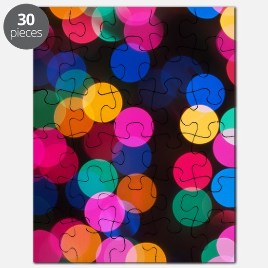 Christmas Tree Lights in Bokeh Puzzle