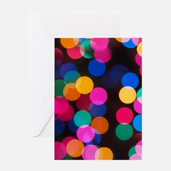 Christmas Tree Lights in Bokeh Greeting Card