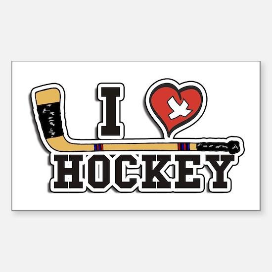 I Love Hockey Sticker (Rectangle)