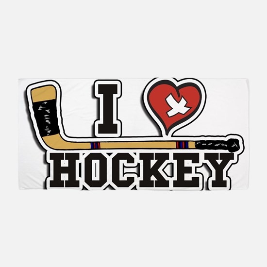 I Love Hockey Beach Towel