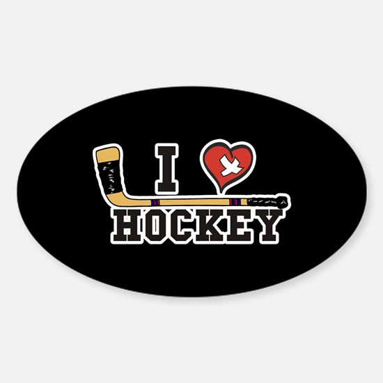 I Love Hockey Sticker (Oval)